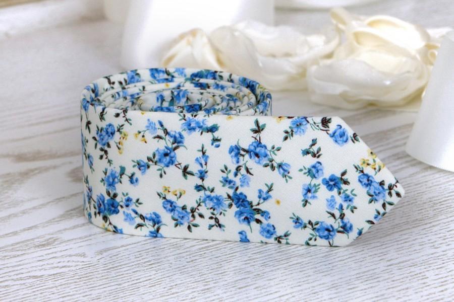 ef09446842a7 Floral Tie Floral Off White Light Blue Wedding Ties Men's floral skinny tie  Groomsmen Wedding ties Necktie for Men FREE GIFT