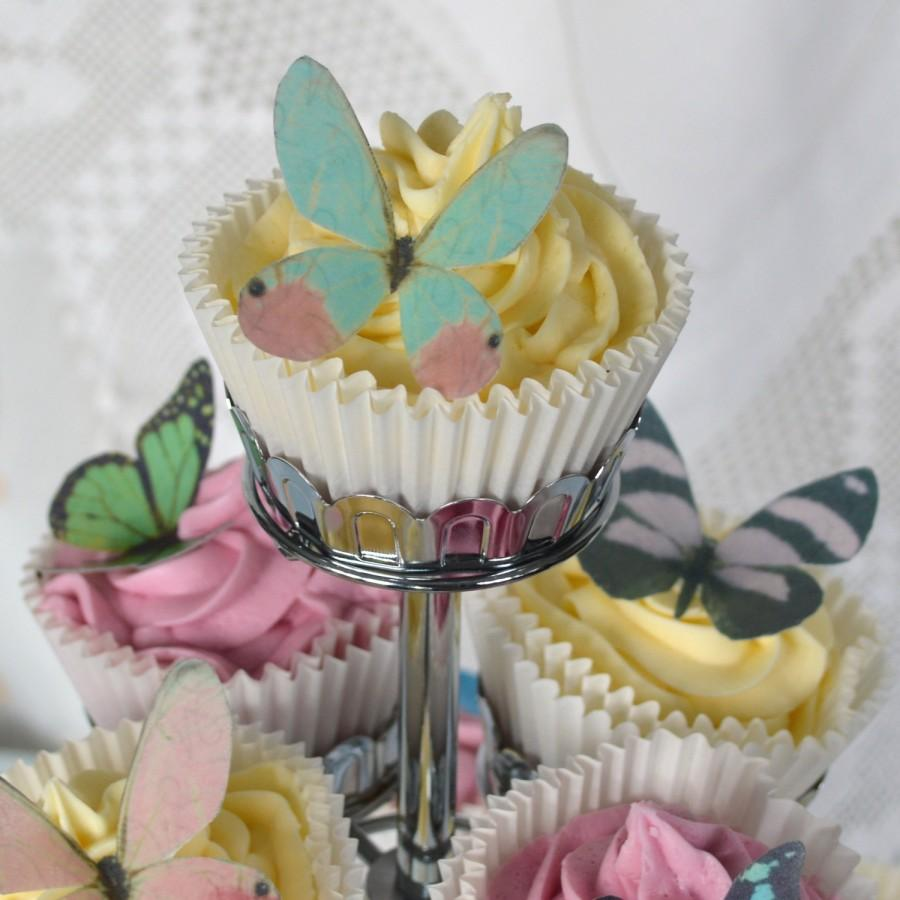Hochzeit - Edible Multicoloured Butterflies Wafer Rice Paper Mix Rainbow 3D Butterfly Wings Fantasy Wedding Cake Decorations Star Baker Cupcake Toppers