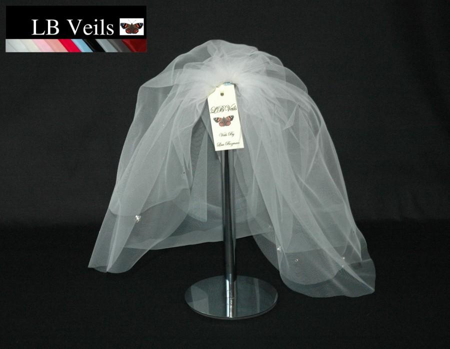 Mariage - Designer Wedding Veil Bouffant  2 Tier Crystal diamante and Pearl Flowers Any Length or Colour LBV39s LB Veils