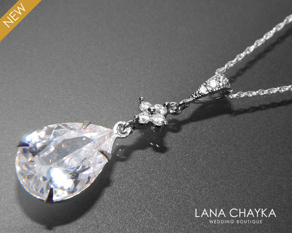 Clear cubic zirconia necklace crystal sterling silver bridal clear cubic zirconia necklace crystal sterling silver bridal necklace teardrop cz wedding necklace bridal cz jewelry cubic zirconia pendant aloadofball Image collections