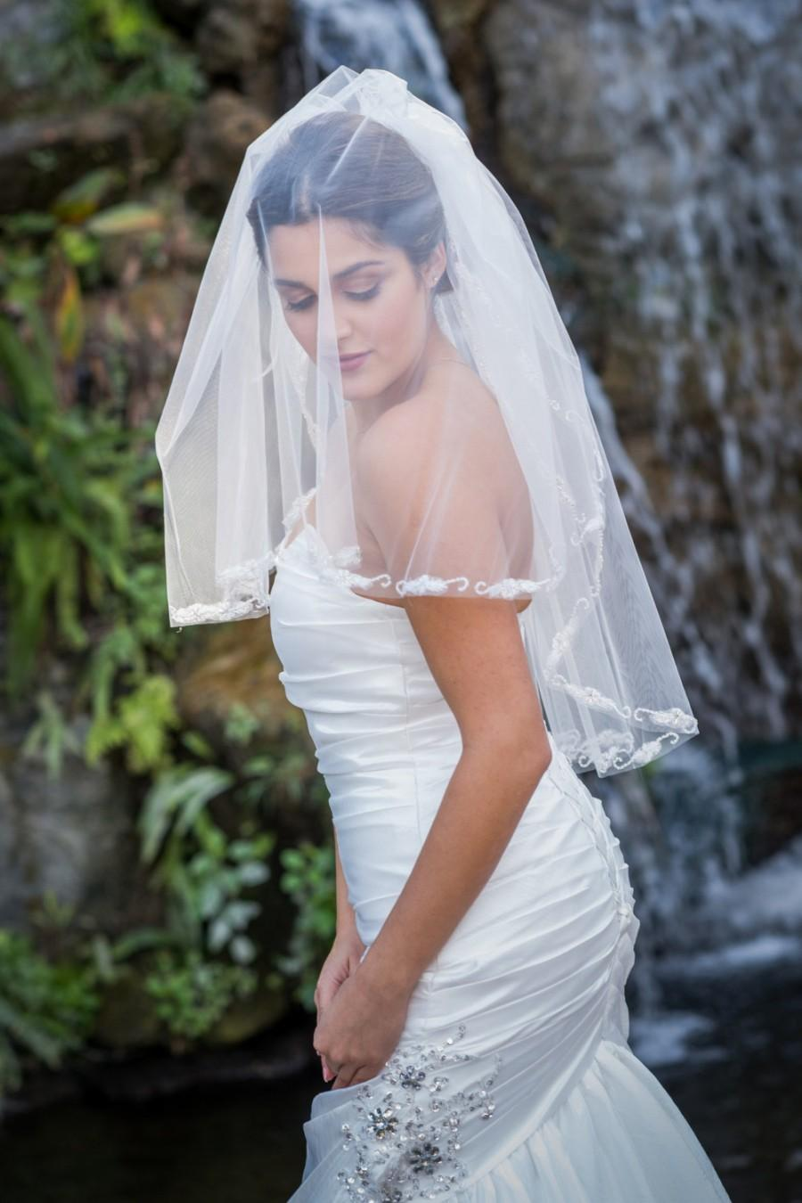 Mariage - Elbow Length Two Tier Lace Veil w/ Pearls and Beading