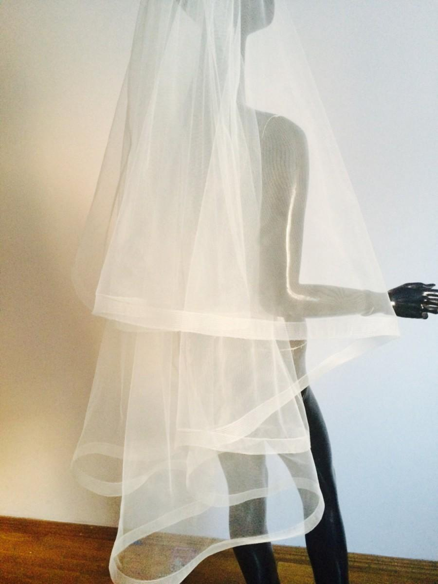 Mariage - Horsehair cathedral Wedding Veil - Drop Veil With Sheer Ribbon Edge . veil white veil with  piping