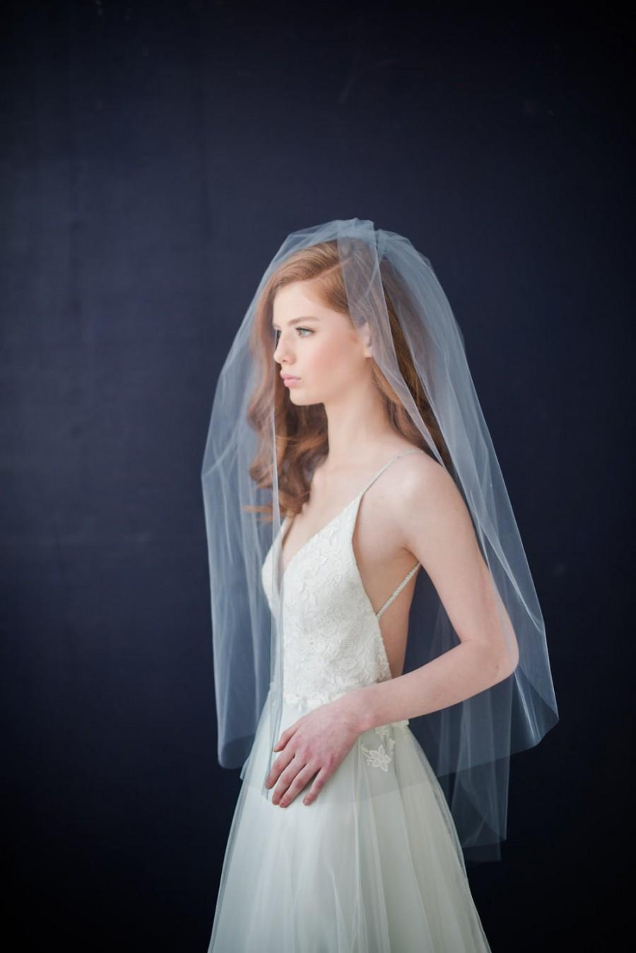 Mariage - Double tier tulle  bridal veil with extra long blusher