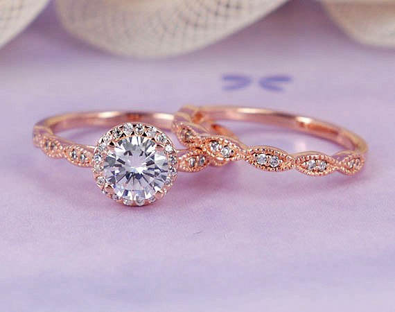 Hochzeit - 1.03 ctw Round Halo Ring, Man Made Diamond, Rose Gold Plated Sterling Silver Engagement Wedding Ring Set-sv2206