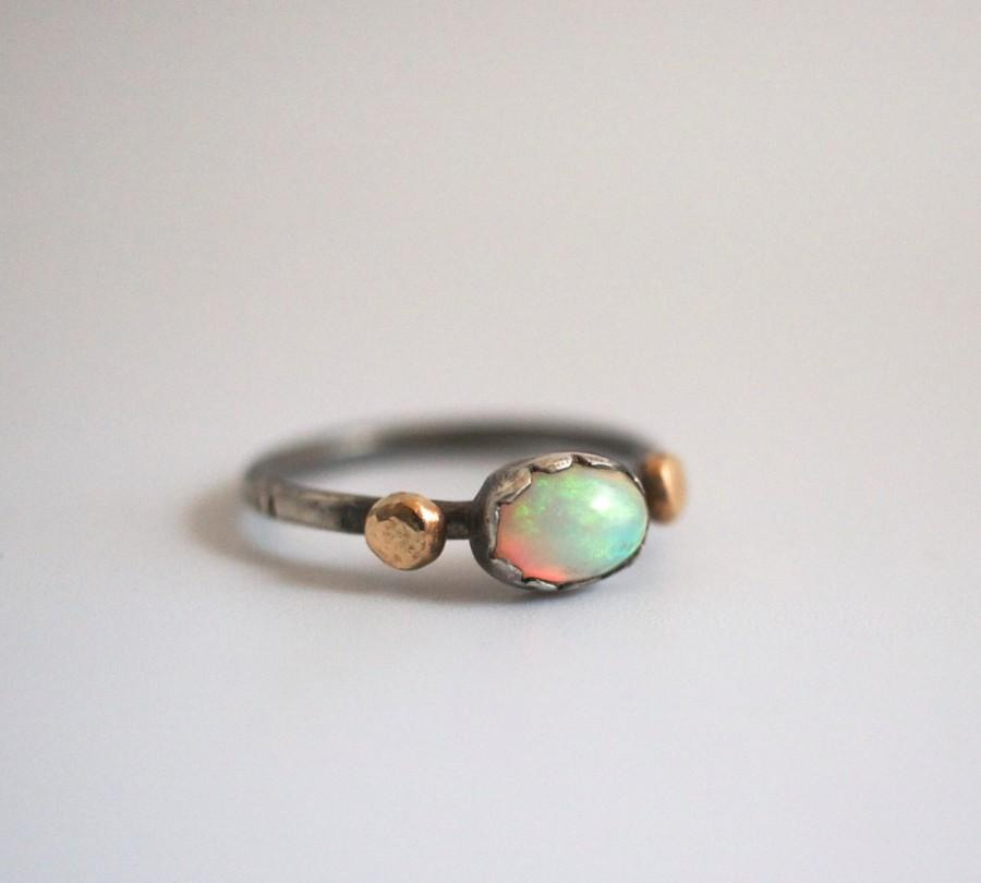 Hochzeit - opal engagement ring, 14k stack, alternative wedding, Ethiopian welo, gold nugget, sterling silver textured oxidized band, promise ring