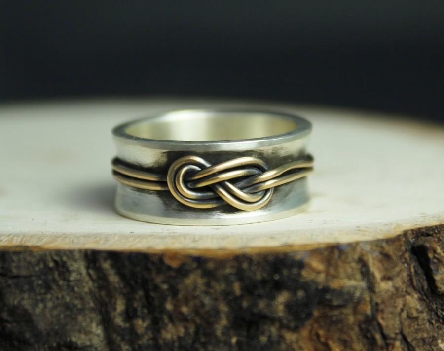 Hochzeit - Infinity Love knot ring in sterling silver solid 14kt gold 8mm wide