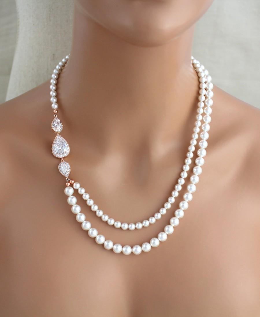 زفاف - Rose Gold Bridal necklace, Pearl Wedding necklace, Bridal jewelry, Rose Gold necklace, Statement necklace, Crystal necklace, Vintage style