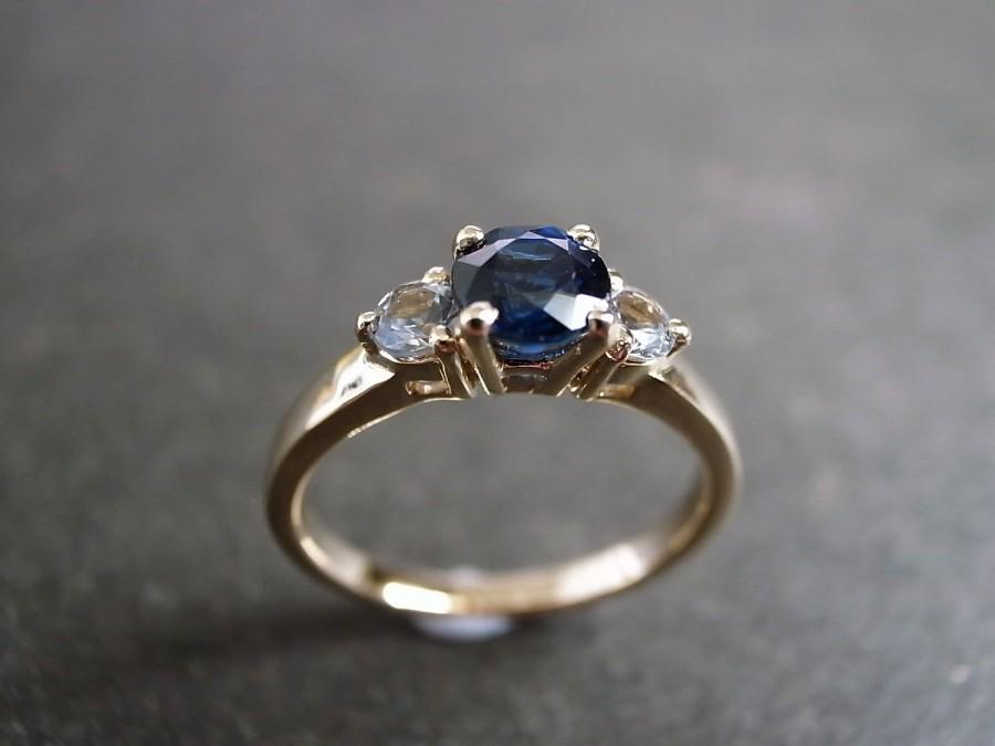 Hochzeit - Engagement Ring / Blue Sapphire and White Sapphire Engagement Ring / Sapphire Jewelry / Blue Sapphire Wedding Ring 14K Yellow Gold