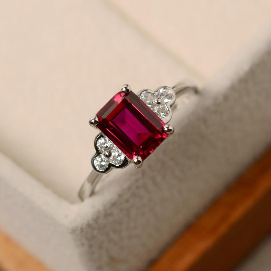 Hochzeit - Lab ruby ring, rectangle ring, July birthstone ring, red ruby ring, rectangle ring