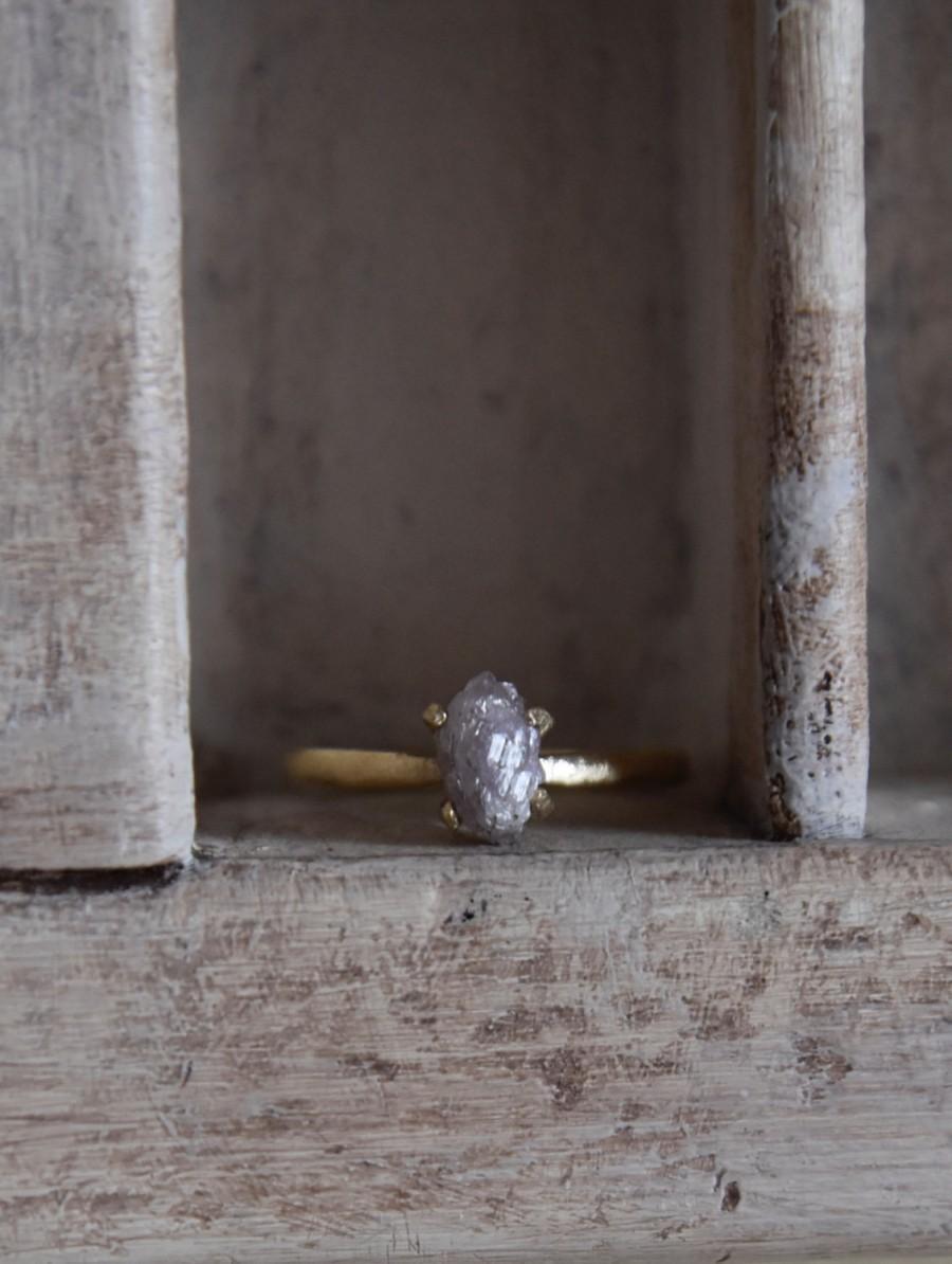 زفاف - 14 k yellow gold- uncut-genuine purple/pink diamond engagement ring- solitaire-one of a kind