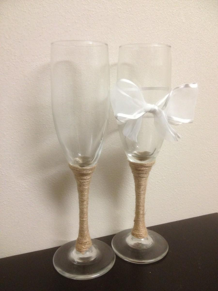Mariage - Wedding Champagne Toast Glasses with White Bow and Twine Wrapping// Burlap Mason Jar Themed His and Hers Champagne Toast Flutes