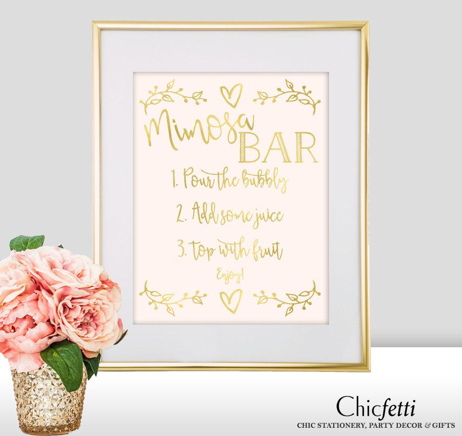 Hochzeit - Mimosa Bar Sign - Mimosa Bar Wedding Sign - Gold Mimosa Bar - Gold Wedding Decorations - Mimosa Bar Print - Wedding Mimosa Bar