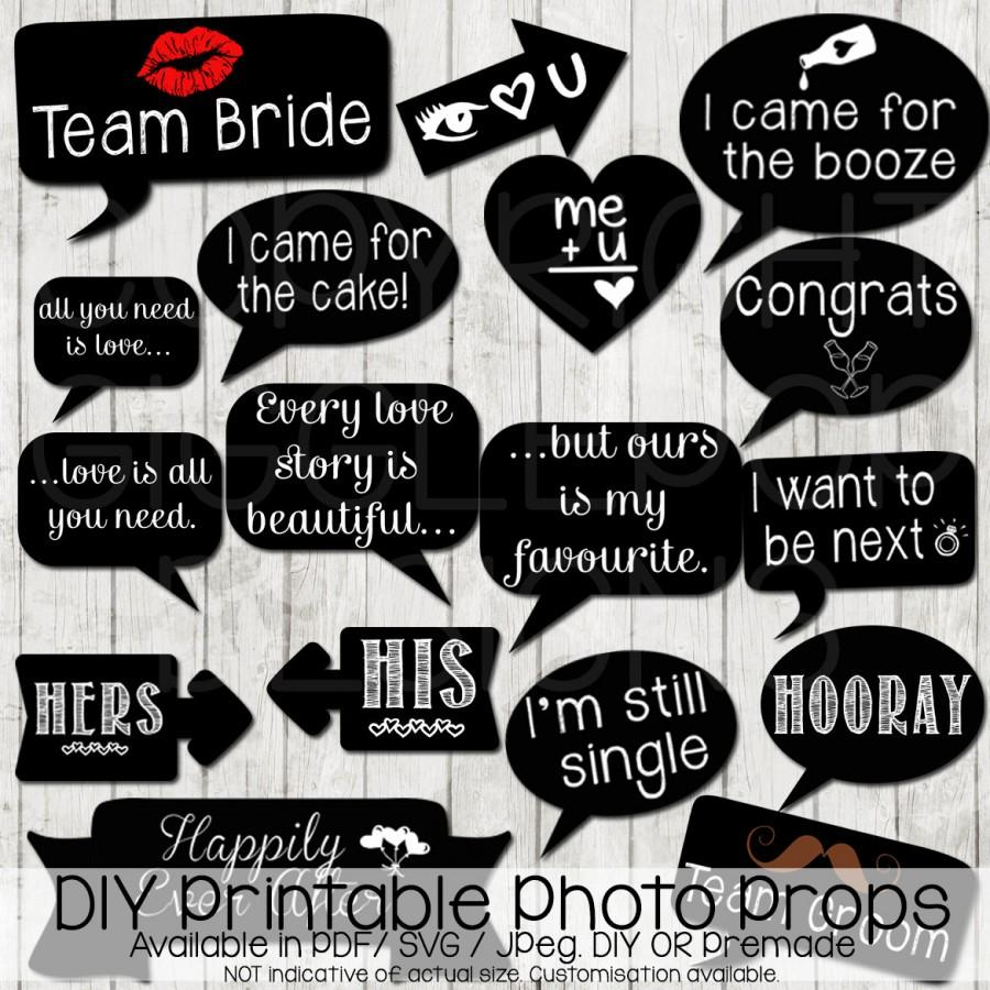 photograph regarding Free Printable Photo Booth Sign referred to as Wedding day Picture Booth Props Do it yourself Printable Immediate Down load