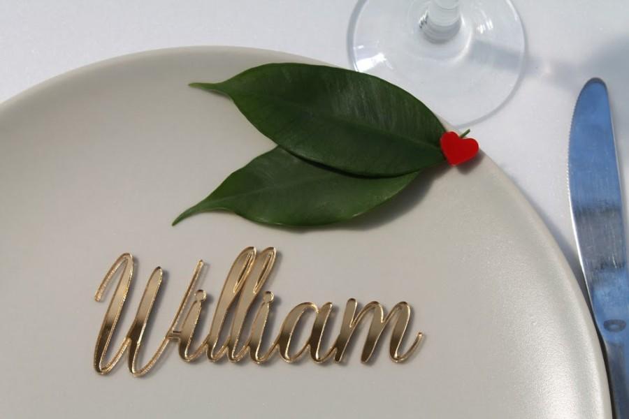 Wedding - Laser cut names, Wedding place setting names, Place cards for wedding, Laser cut signs, Gold  cards, Silver decor, Custom table names, 17
