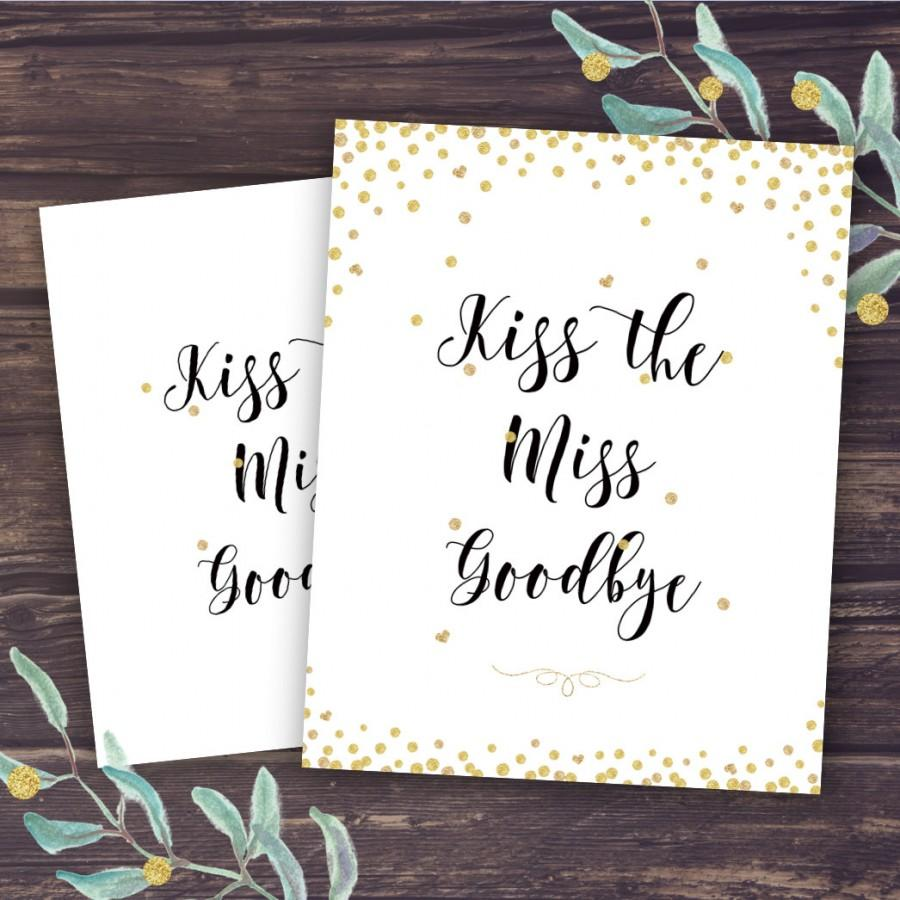 kiss the miss goodbye sign bridal shower game ideas unique activities gold confetti and glitter wedding shower instant download diy