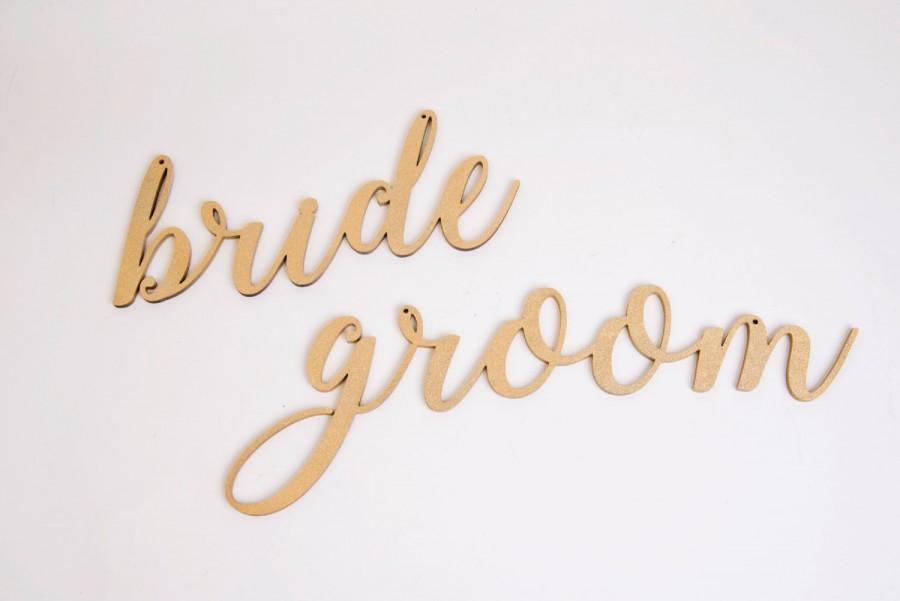Bride Groom Chair Signs Wedding Decoration Sign Chairback Wood Rustic Decor Gold Silver