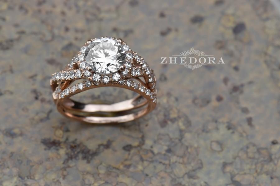 Свадьба - 2.0 CT Round Cut Engagement Ring band set in Solid 14k or 18k Rose Gold Bridal, Wedding Set , Engagement Set