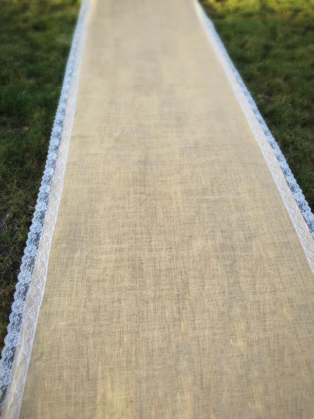 Wedding - SALE! Wedding burlap aisle runner with scalloped ivory french lace trimming. Rustic, shabby chic, beach wedding, burlap, red lace avail