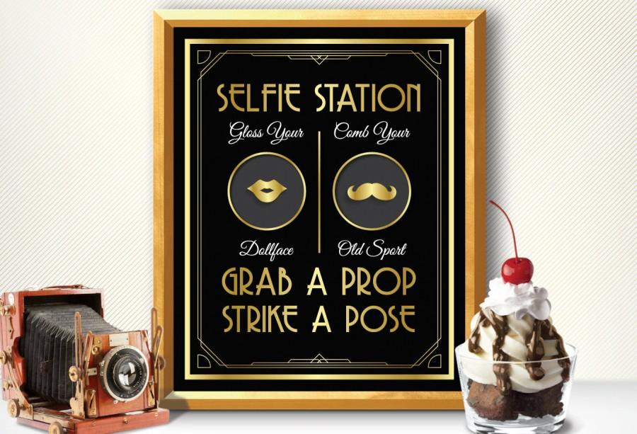 Wedding - Photo booth, photo booth sign, selfie station sign, grab a prop and strike a pose sign, art deco photo booth, great gatsby photo booth sign