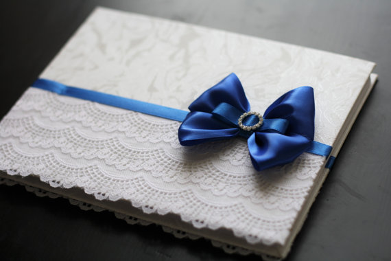 Royal Blue Wedding Guest Book Lace Baby Shower Book Blue Reception