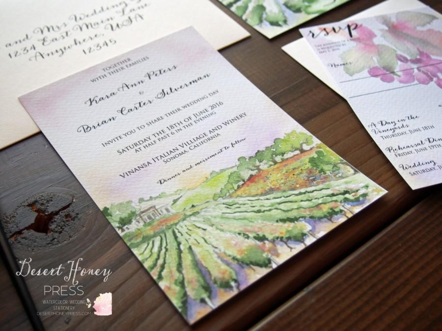 Vineyard Wedding Invitation Winery Invite Vineyard Wedding Suite Vineyard Watercolor Invite 2667681 Weddbook