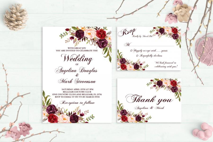 Wedding - Marsala Wedding Invitation Printable Burgundy Wedding Invitation Suite Floral Boho Wedding Invite Bohemian Spring / Summer Wedding Set