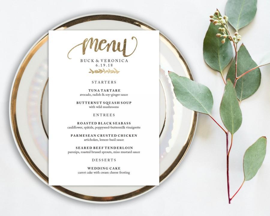 Hochzeit - Wedding Menu Printable, Menu Editale Template