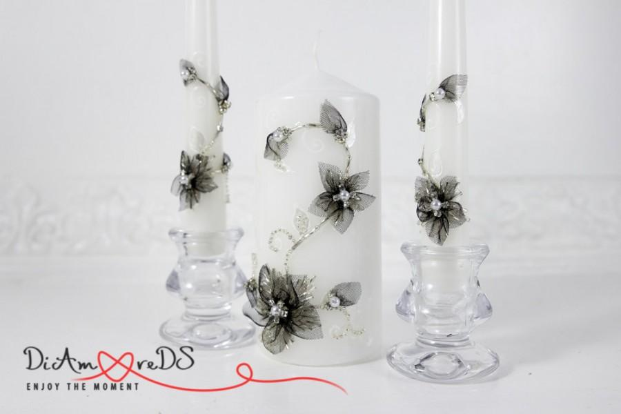 زفاف - Wedding Unity Candle, Personalized Pillar Candle, Wedding Ceremony Candle Set of 3 Candles, Black Flower, Crystal Unity Candles Set,