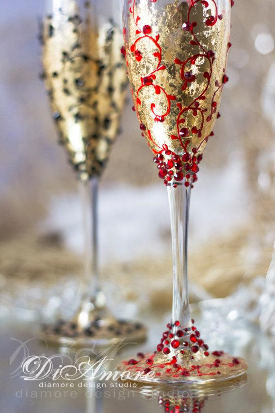 زفاف - Black, Red, Gold Wedding Champagne Glasses for Bride and Groom, Modern, Lace,personalized glasses,Gatsby Style, 2pcs ,G1/4/11-0004