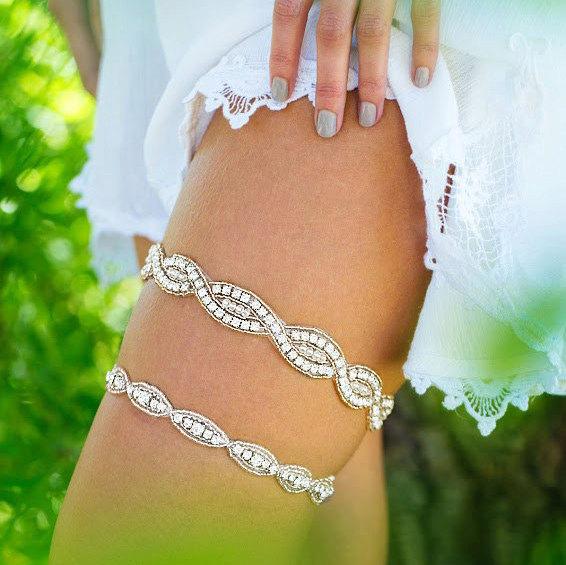 Hochzeit - Wedding Garter,Silver Crystal Wedding Garter, Crystal Rhinestone Bridal Garter, Crystal Garter Set, Glam Garter, Silver Garter, Garter Set