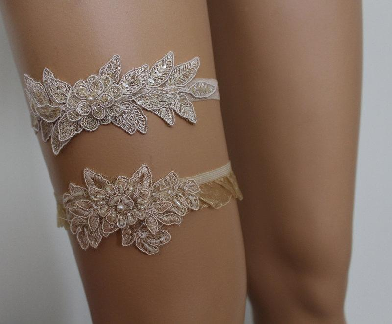 Wedding - FREE SHİP  Wedding Garters,Champagne Lace Bridal Garter,Lingerie,Bridal Accessory Champagne Lace Flowers Garter