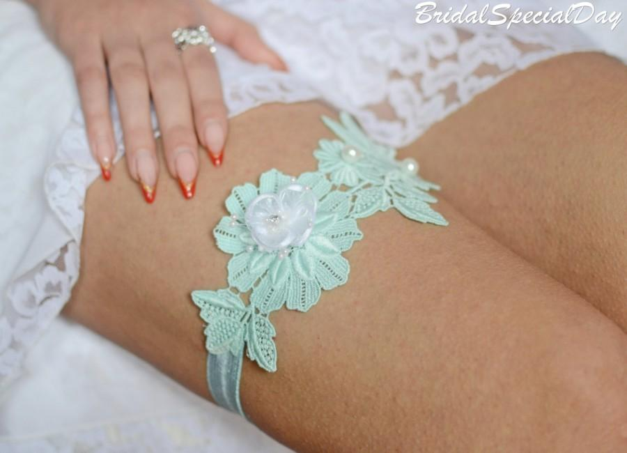 Wedding - Lace Bridal Garter, Lace Wedding Garter, Mint Garter Set, Wedding Garter, Lace Garter Set, Handmade Garter, Wedding Garter, Mint Lace Garter