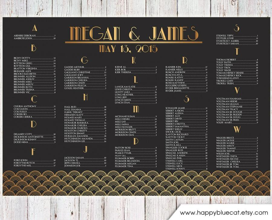 Свадьба - Wedding Seating Chart - RUSH SERVICE - Vintage Art Deco Great Gatsby Wedding Seating Chart Reception Poster - Digital Printable File HBC149