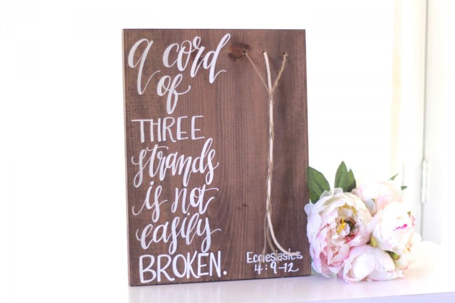 A Cord Of Three Strands Rustic Wedding Sign 3 Ceremony Decor Keepsake