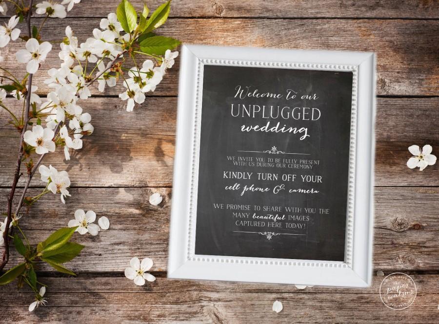 Wedding - Chalkboard Unplugged Wedding Sign, Chalkboard Print, Instant Printable Download, Rustic Wedding Sign