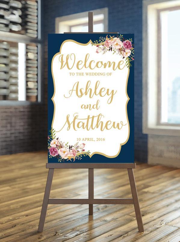 Wedding - Printable Wedding Sign, Welcome Wedding Sign, Floral Wedding Sign, Navy wedding Sign, Gold Wedding Sign, Calligraphy Wedding Sign, Boho sign