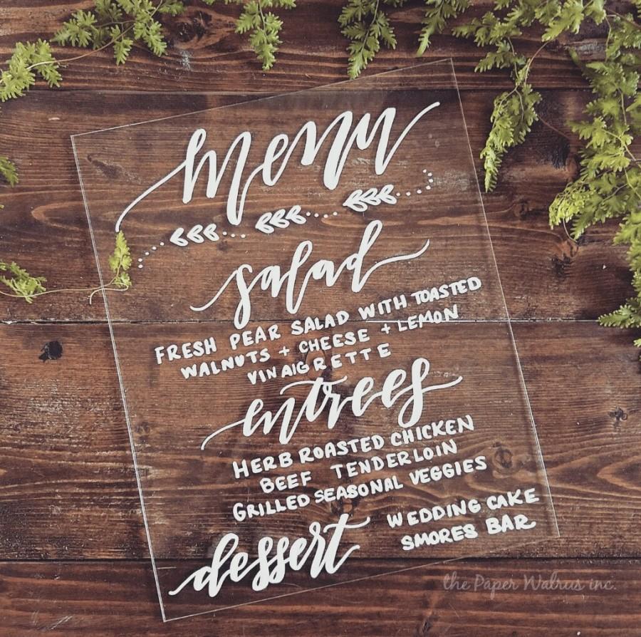 Mariage - Custom Menu Sign, Calligraphy Wedding Sign, Wedding Menu, Wedding Decor, Rustic Wedding, Vintage Wedding