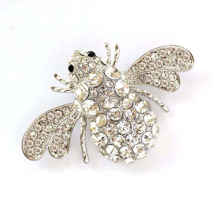 Hochzeit - Bumble Bee Brooch, Large Crystal Silver Bee Broach Pin, Rhinestone Insect Brooch, Bumble Bee DIY Jewelry, Clutch Broach, Bouquet Brooches