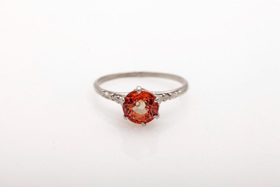 Hochzeit - Antique Vintage Art Nouveau Edwardian Art Deco 14k White Gold Solitaire Padparadscha Sapphire Engagement Ring
