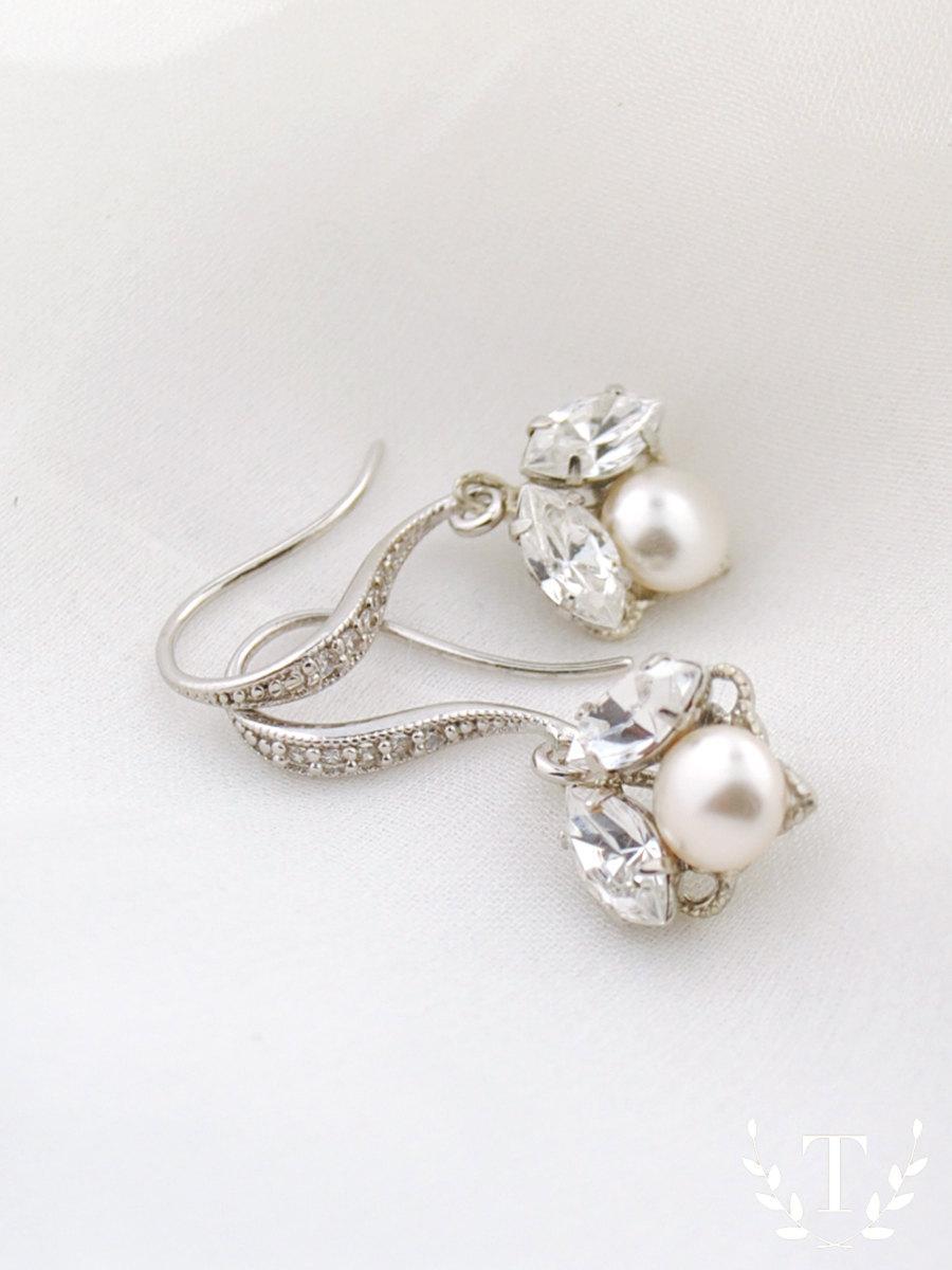 Delicate Wedding Earrings Pee Bridal Crystal And Pearl Drop Jewelry Swarovski Idaho