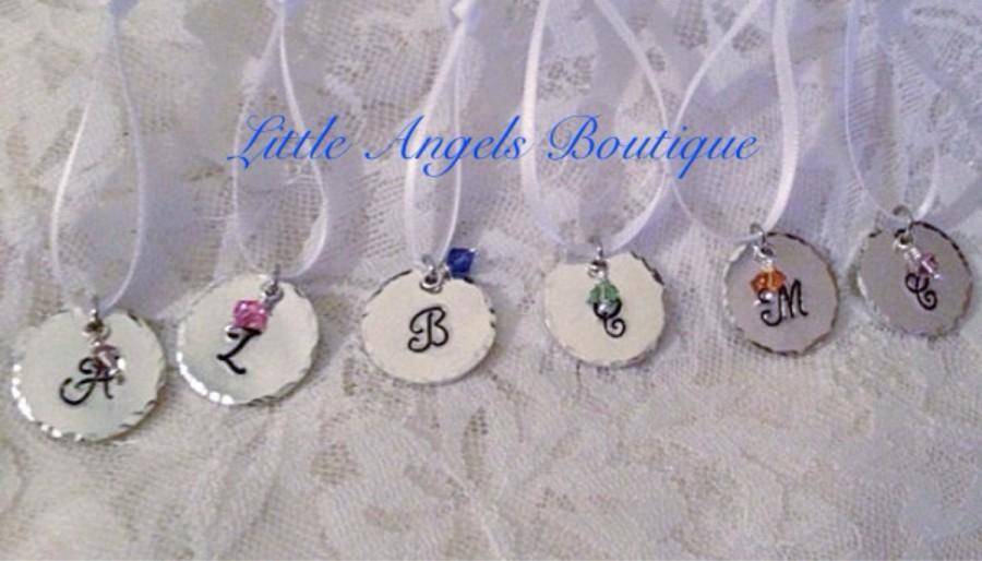 Mariage - Monogram Bridesmaid Bouquet Charms Wedding Favor Hand Stamped WA006