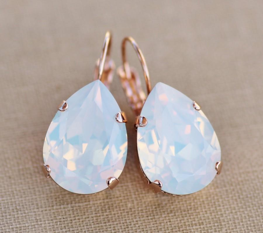 Свадьба - BRIDAL ROSE GoLD White Opal Swarovski Rhinestone Earring,Large Teardrop Pear,Rose Gold Drop,Swarovski Rhinestone Dangle,Bride,Wedding
