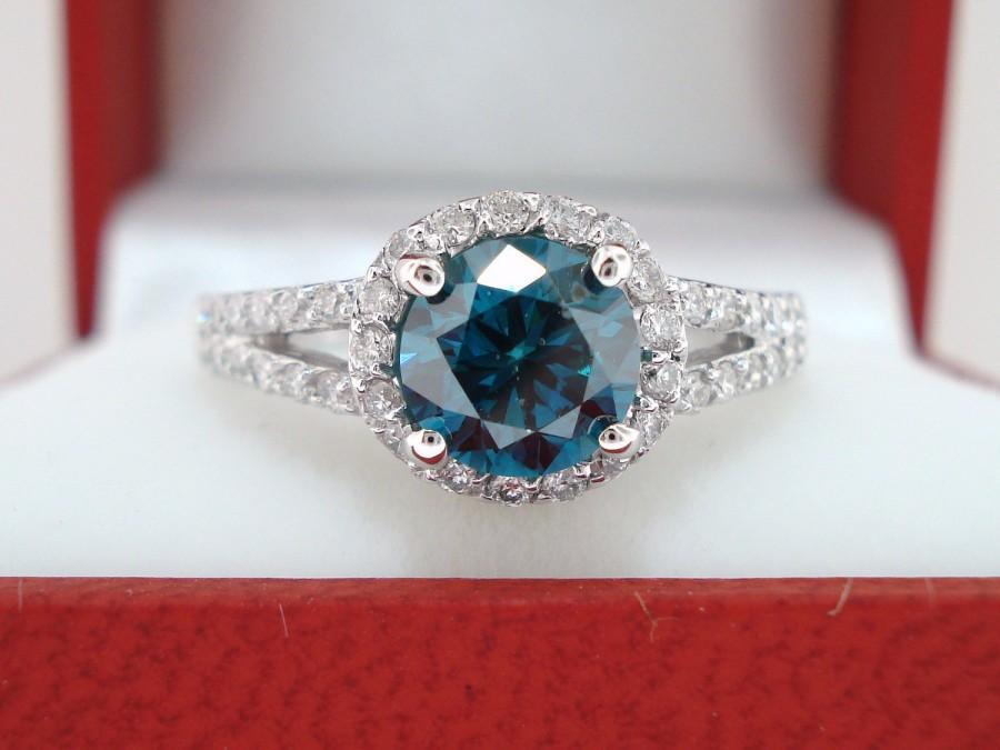 Hochzeit - Platinum Fancy Blue Diamond Engagement Ring 1.36 Carat SI1 Handmade