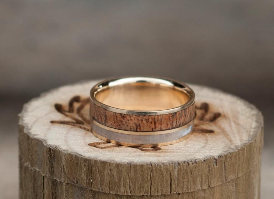 Hochzeit - Mens Wedding Band Mother of Pearl & Redwood Wedding Ring - Staghead Designs