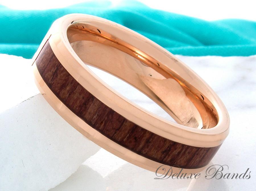 Свадьба - Tungsten Wood Wedding Band,Rose Gold Tungsten Ring,Wood Tungsten Ring,Tungsten Wedding Ring,Mens Tungsten Band,7mm,Wood Anniversary Ring