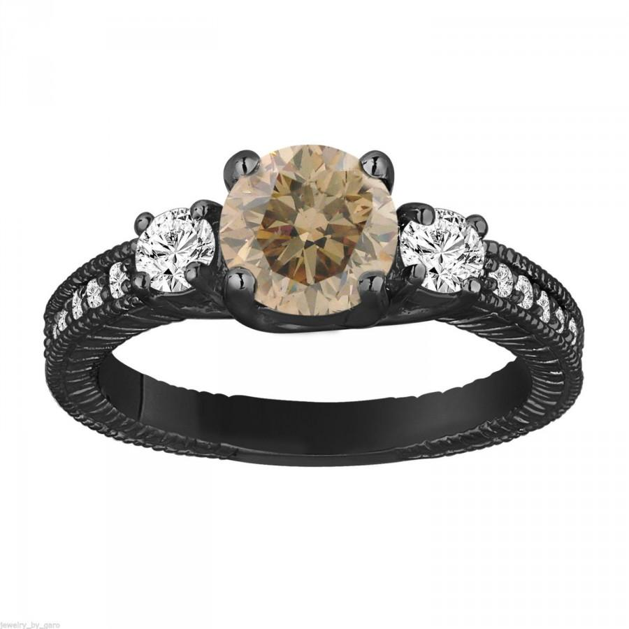 Mariage - Fancy Champagne & White Diamond Three Stone Engagement Ring 1.38 Carat 14K Black Gold Vintage Antique Style Engraved Handmade