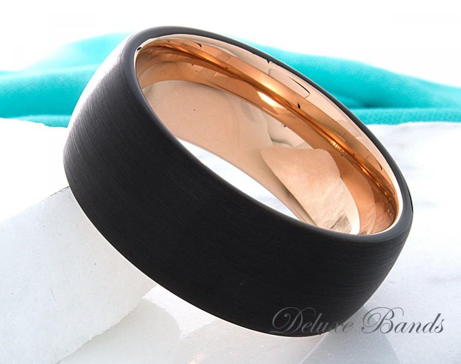 Mariage - Tungsten Ring Rose Gold Black Ring Wedding Band Tungsten Carbide 9mm Mens Womens Tungsten Ring Wedding Band Anniversary Promise Comfort Fit