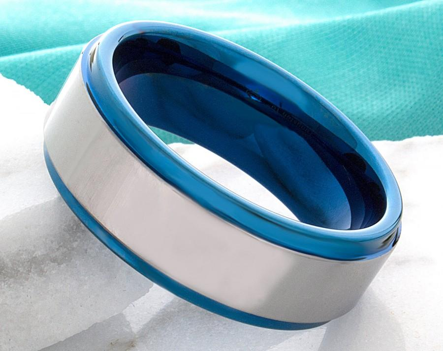 Mariage - Tungsten Ring Mens Blue Wedding Band Tungsten Ring Tungsten Carbide 8mm Tungsten Man Wedding Male Women AnniversaryPromise All Sizes Ring