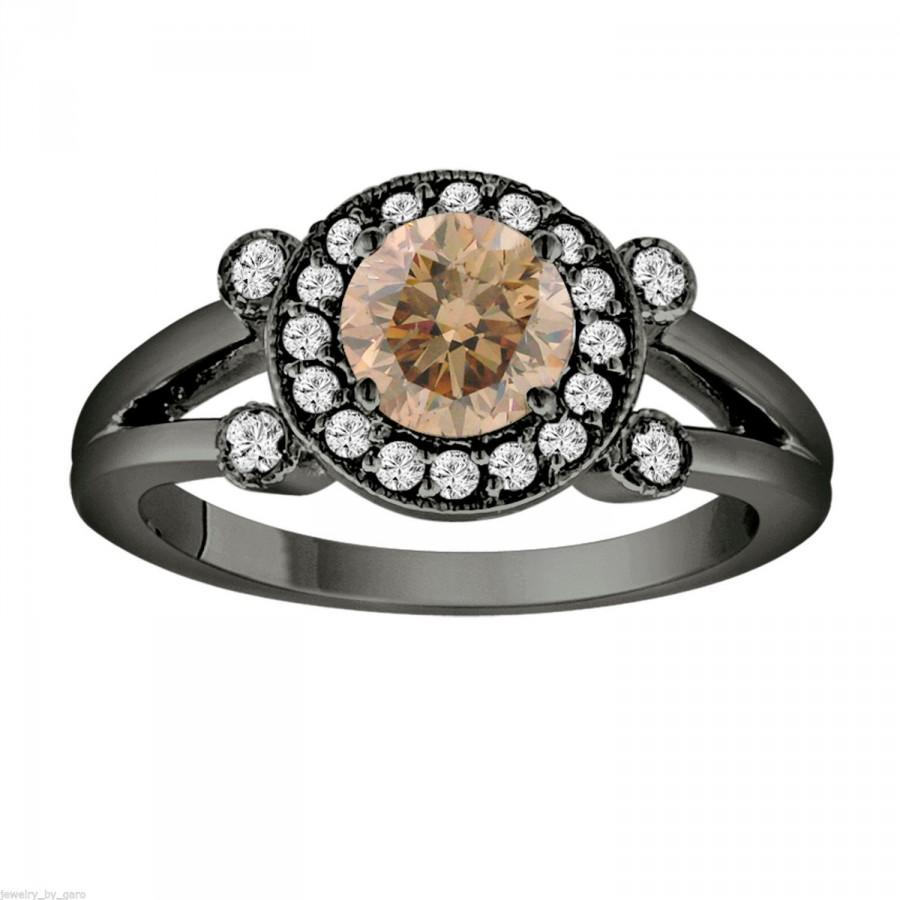 Mariage - Champagne & White Diamond Engagement Ring Vintage Style 14k Black Gold 1.03 Carat Certified Unique Halo