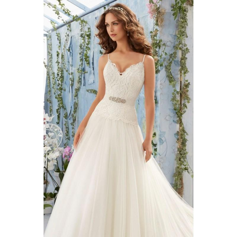 Wedding - Embroidered Soft Net Gown by Blu by Mori Lee - Color Your Classy Wardrobe